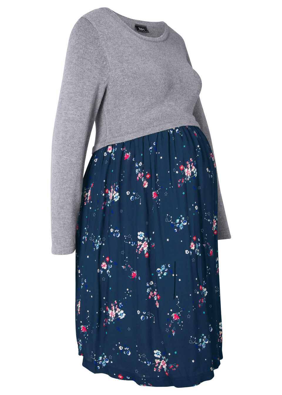 Sukienka ciążowa z dzianiny i wiskozy bonprix szary melanż - ciemnoniebieski z nadrukiem