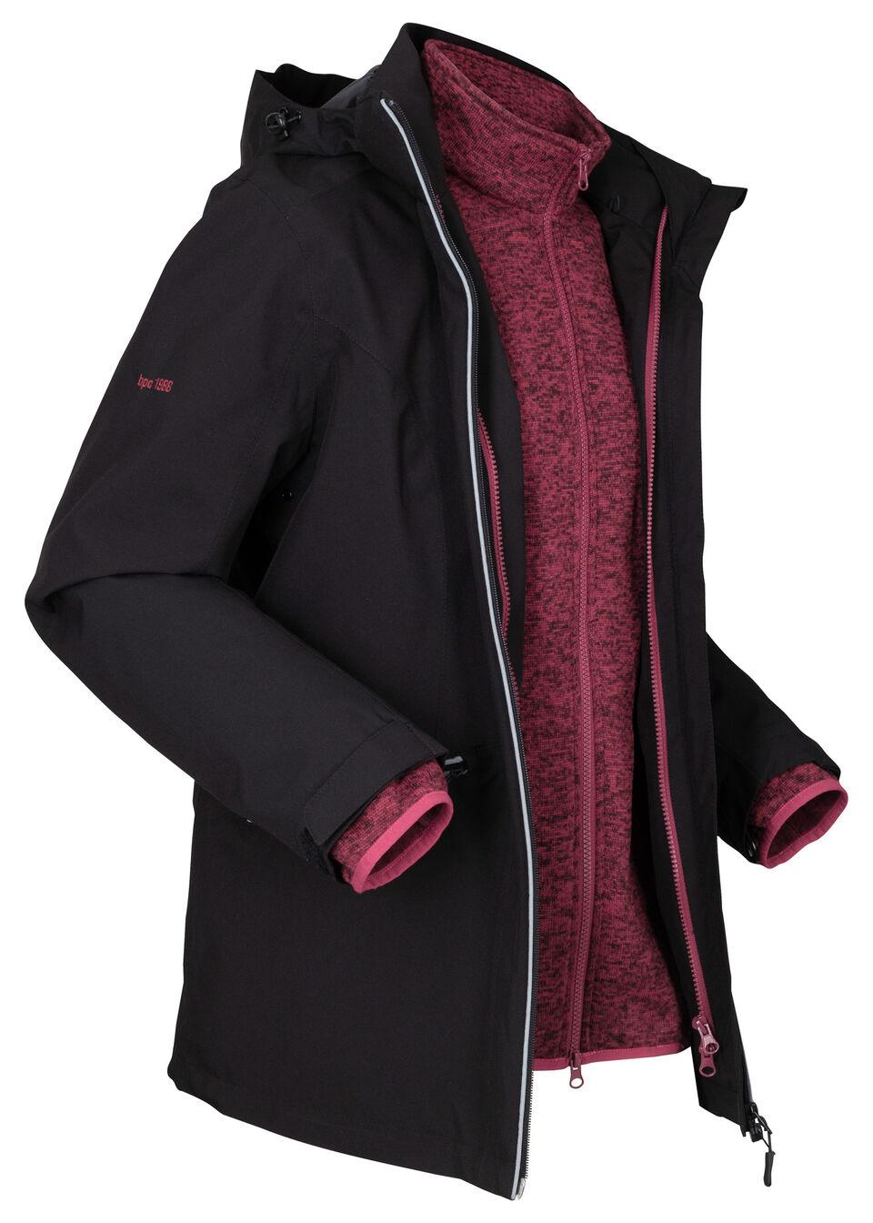 Kurtka funkcyjna outdoorowa 3 w 1 z bluzą z polaru bonprix czarno-czerwony rododendron