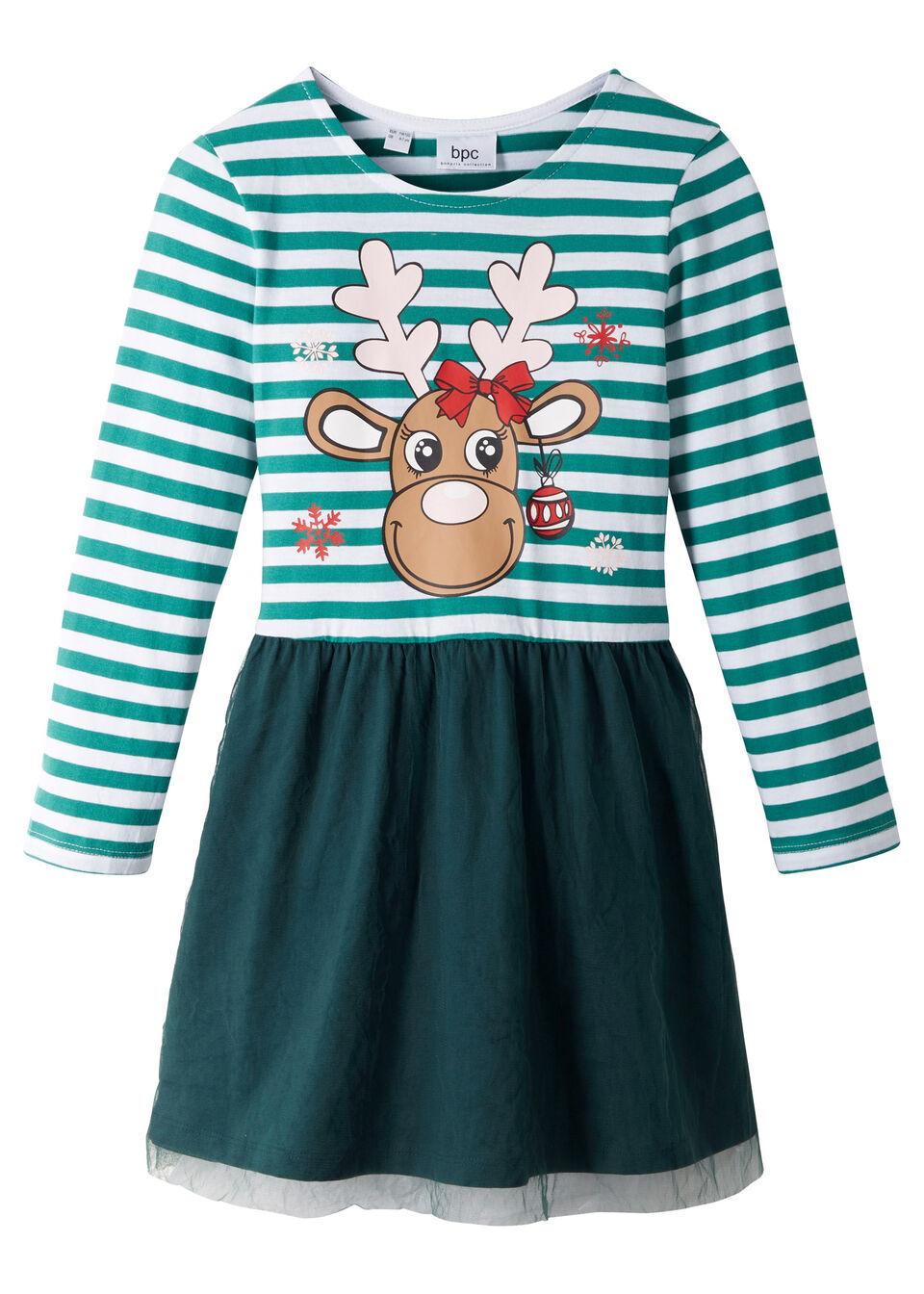 Sukienka dziewczęca bożonarodzeniowa z dżerseju z tiulem bonprix dymny szmaragdowy - biało-głęboki zielony