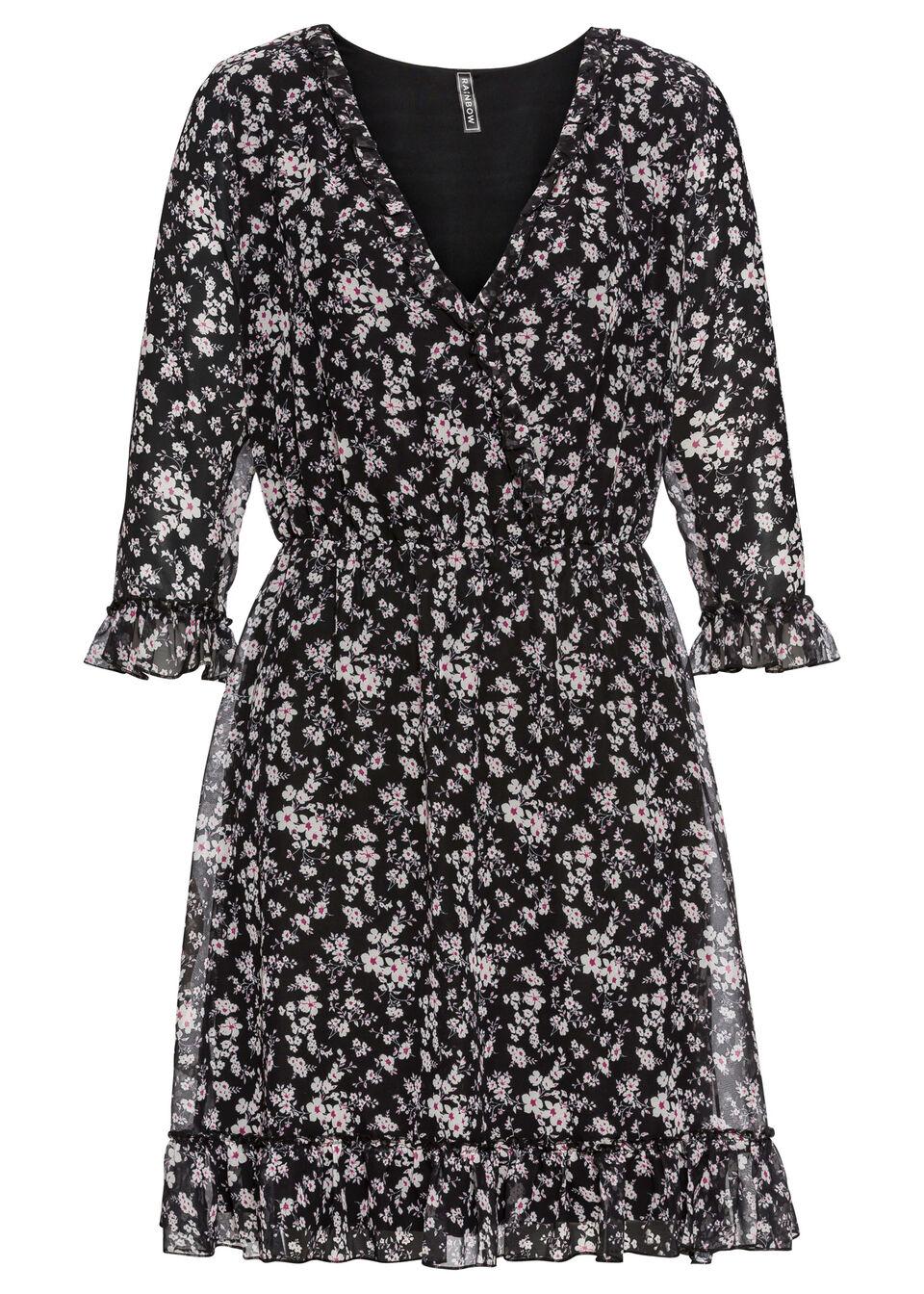 Sukienka koszulowa z falbanami bonprix czarny w kwiaty
