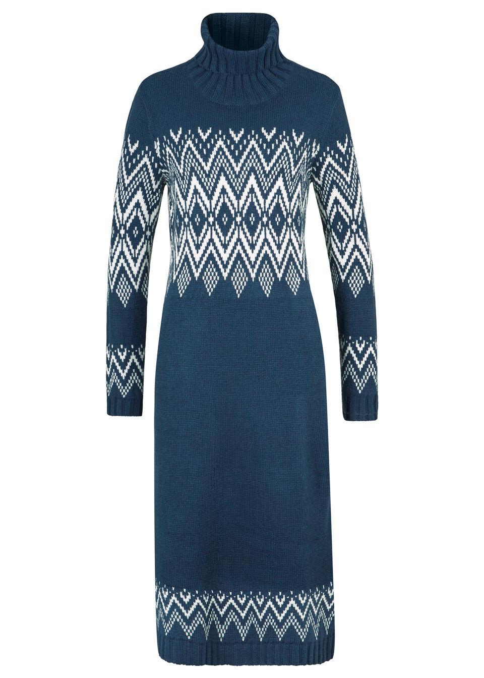 Długa sukienka dzianinowa w norweski wzór bonprix ciemnoniebieski w norweski wzór