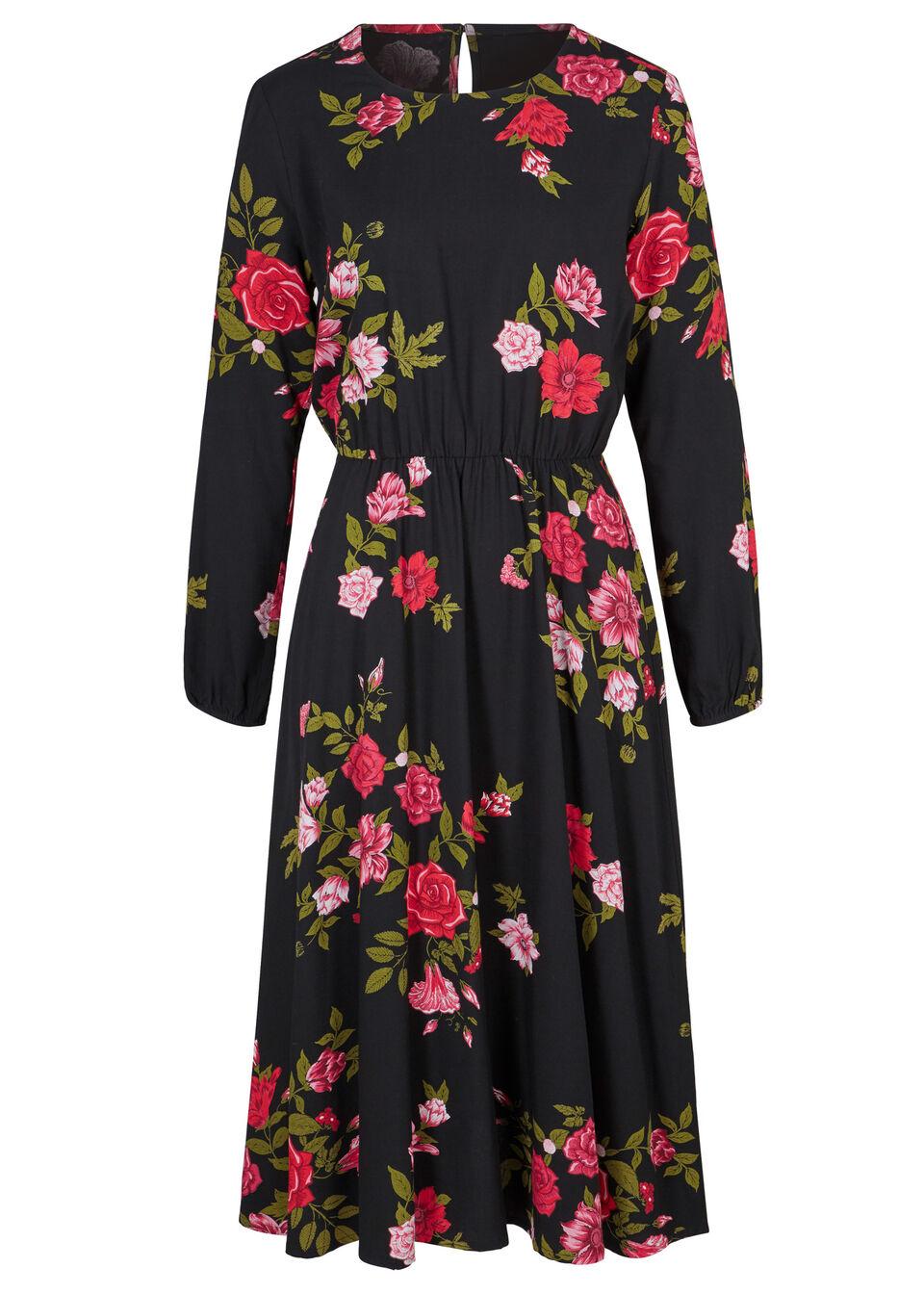 Sukienka koszulowa midi bonprix czarny w kwiaty