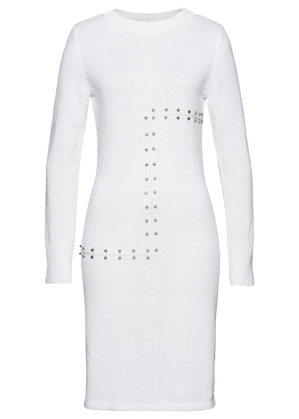 Sukienka dzianinowa z ćwiekami bonprix biały