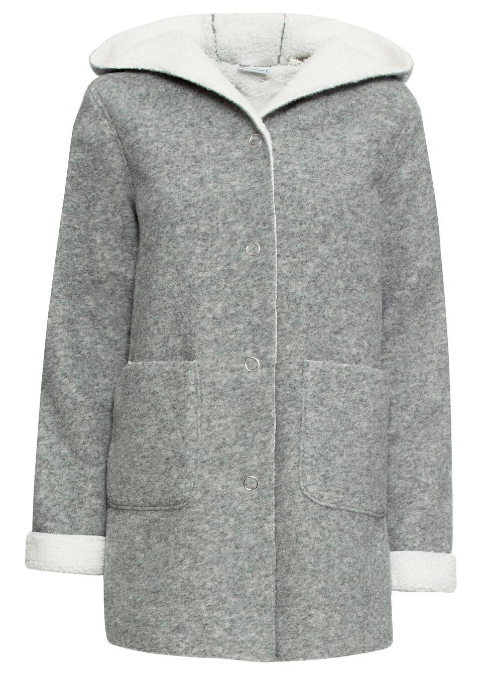 Krótki płaszcz na podszewce baranku, długi rękaw bonprix szary melanż - biel wełny
