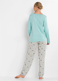 Pijama acvamarin pastel-gri deschis melanj imprimat bpc bonprix collection 2