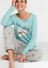 Pijama acvamarin pastel-gri deschis melanj imprimat bpc bonprix collection 3