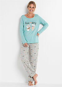 Pijama acvamarin pastel-gri deschis melanj imprimat bpc bonprix collection 1