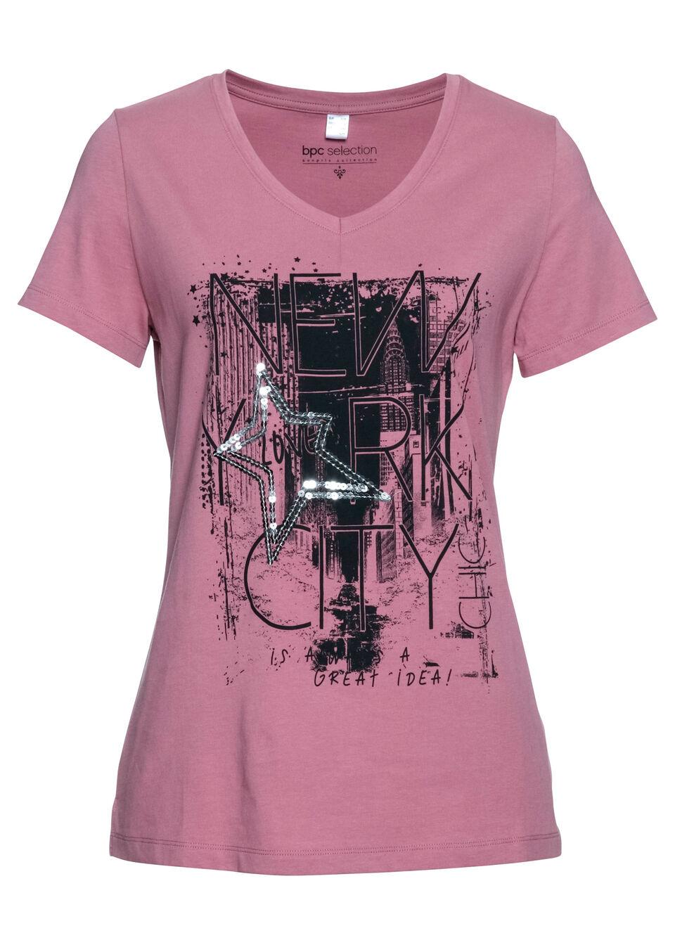 T-shirt bonprix jeżynowy sorbetowy - czarny