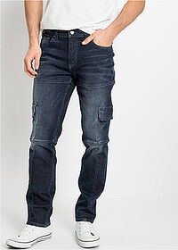 Dżinsy bojówki ze stretchem Slim Fit Straight ciemny denim John Baner JEANSWEAR 1