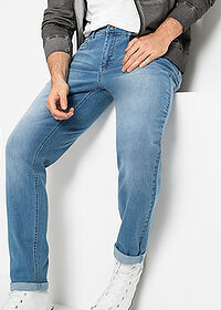 Regular Fit multi-sztreccsfarmer, Tapered kék koptatott John Baner JEANSWEAR 5
