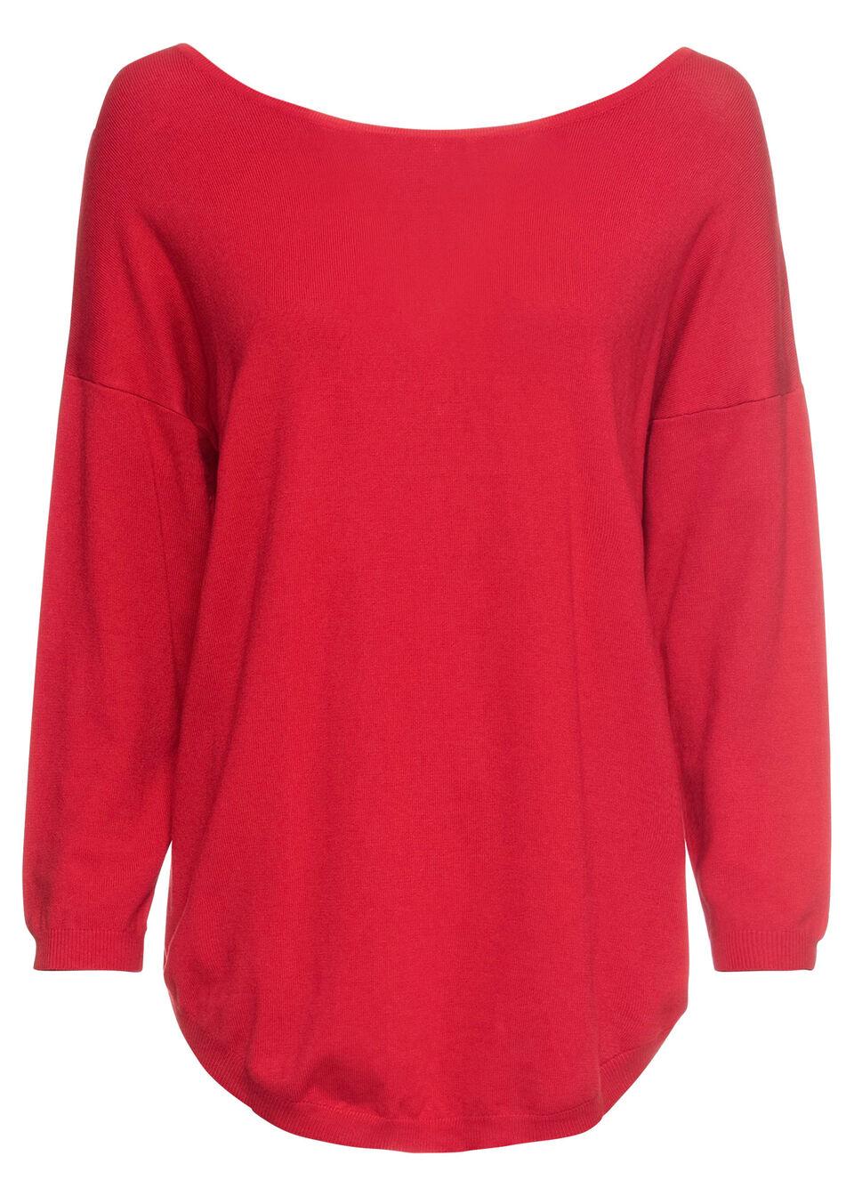 Купить Свитера, Пуловер с V-вырезом на спине, bonprix, клубничный
