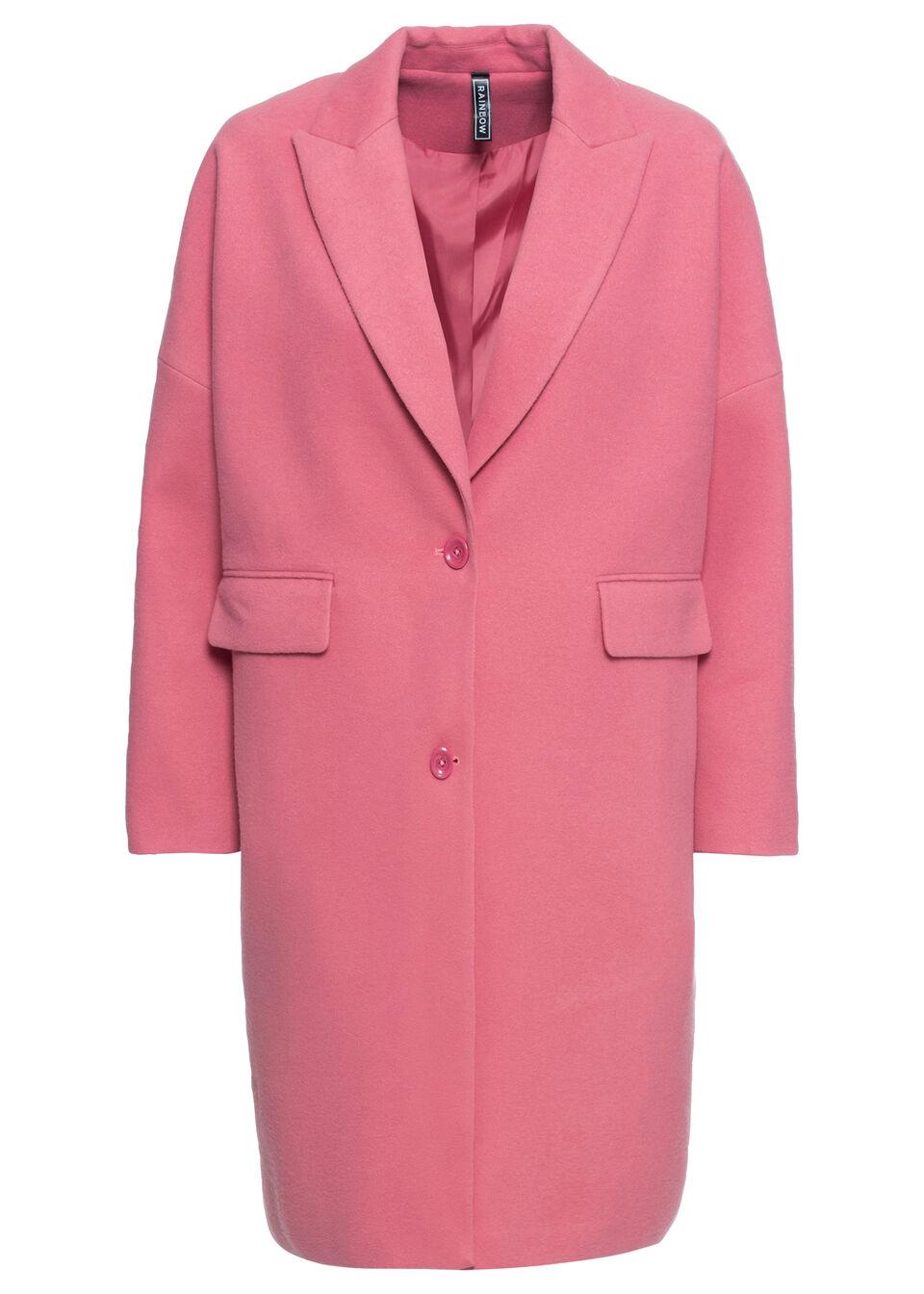 Płaszcz O-shape z materiału w optyce wełny, bonprix pastelowy dymny różowy