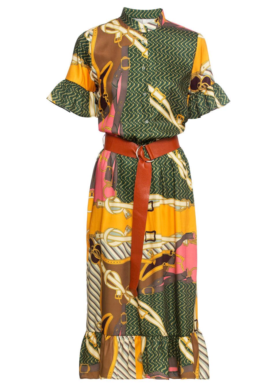 Sukienka z paskiem bonprix jasnoróżowo-brązowo-zielono-ciemnozielony wzorzysty
