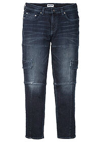 Dżinsy bojówki ze stretchem Slim Fit Straight ciemny denim John Baner JEANSWEAR 0