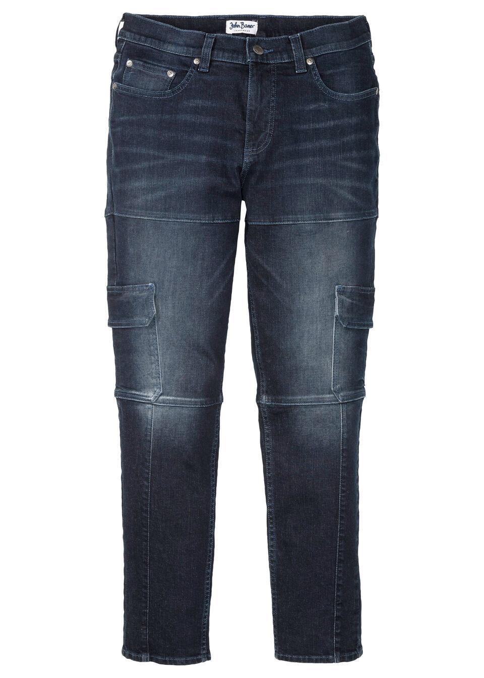 Dżinsy bojówki ze stretchem Slim Fit Straight bonprix ciemnoniebieski denim