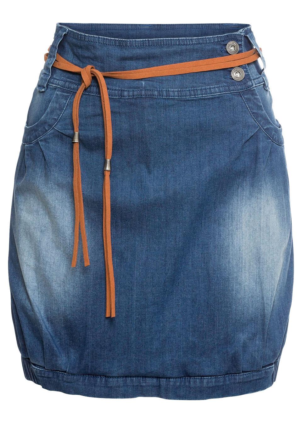 """Spódniczka dżinsowa z paskiem bonprix niebieski """"stone"""""""