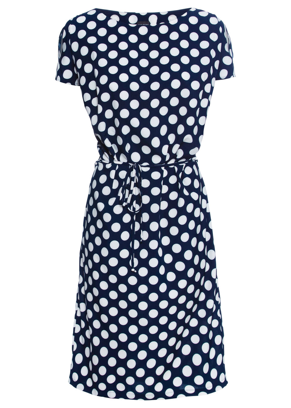 Sukienka w grochy bonprix ciemnoniebiesko-biały w grochy