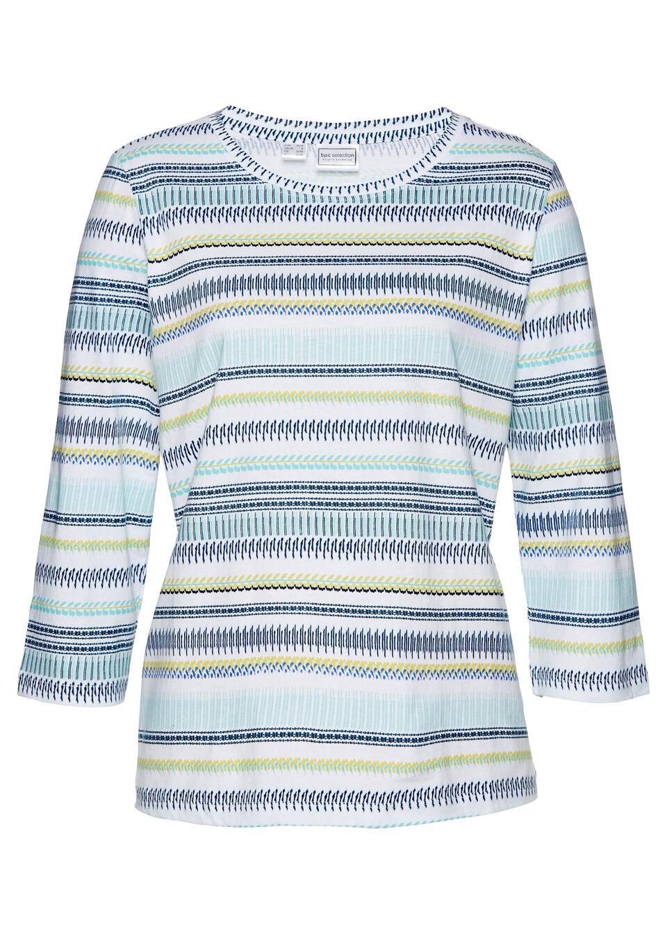 Shirt z nadrukiem, rękawy 3/4 bonprix biało-ciemnoniebieski z nadrukiem