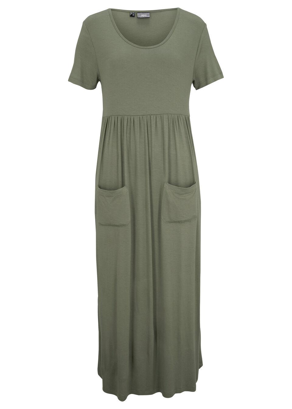 Sukienka midi ze stretchem, z okrągłym dekoltem i krótkim rękawem bonprix Sukienka mid kr.r oliw ok.dek