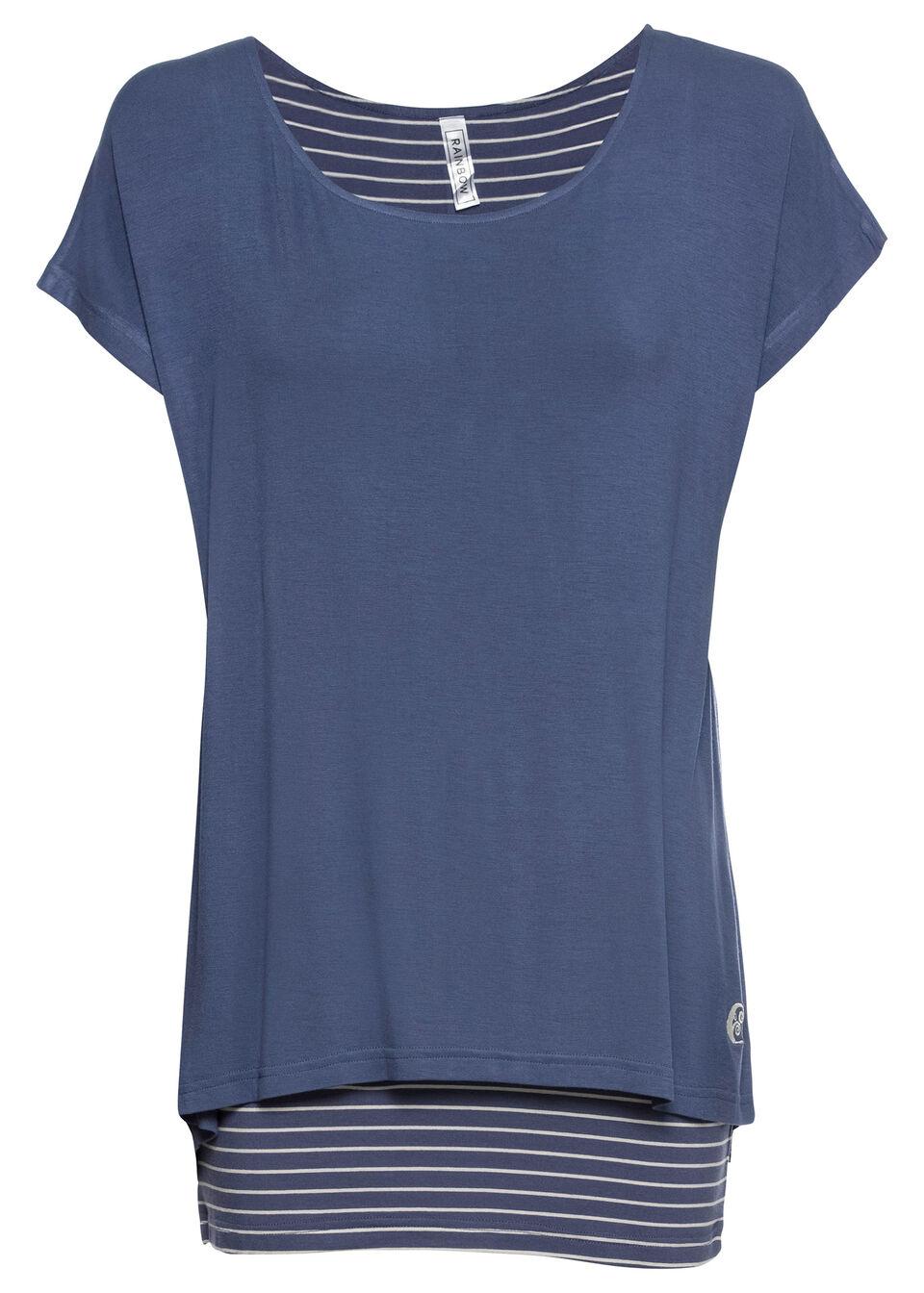 Długi shirt 2 w 1 bonprix indygo-matowy srebrny
