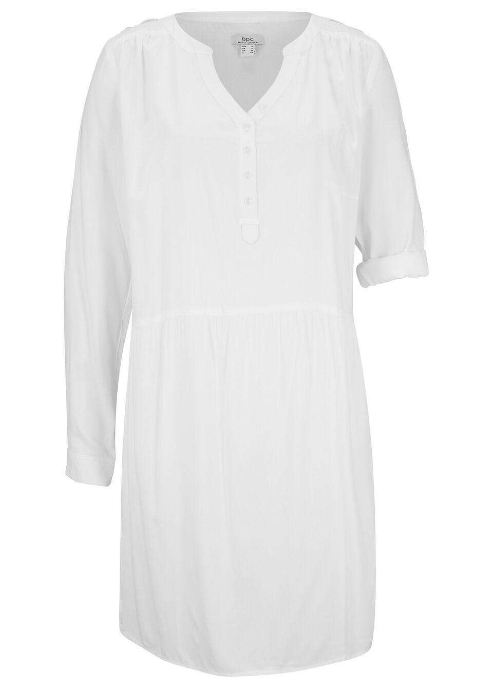 Sukienka koszulowa z wiskozy, długi rękaw bonprix biały