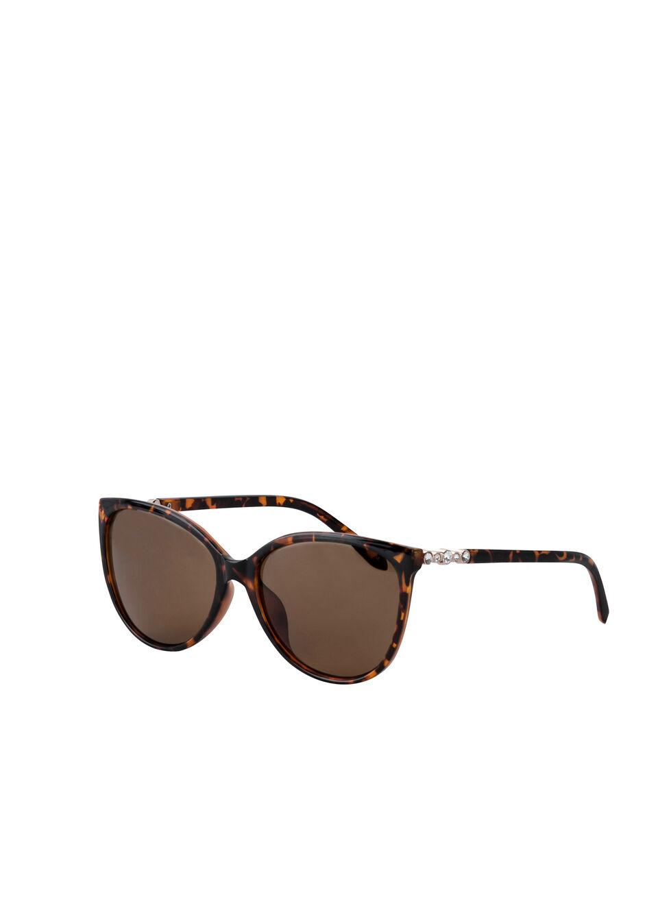 Okulary przeciwsłoneczne z kryształami Swarovskiego® bonprix brązowo-złoty kolor