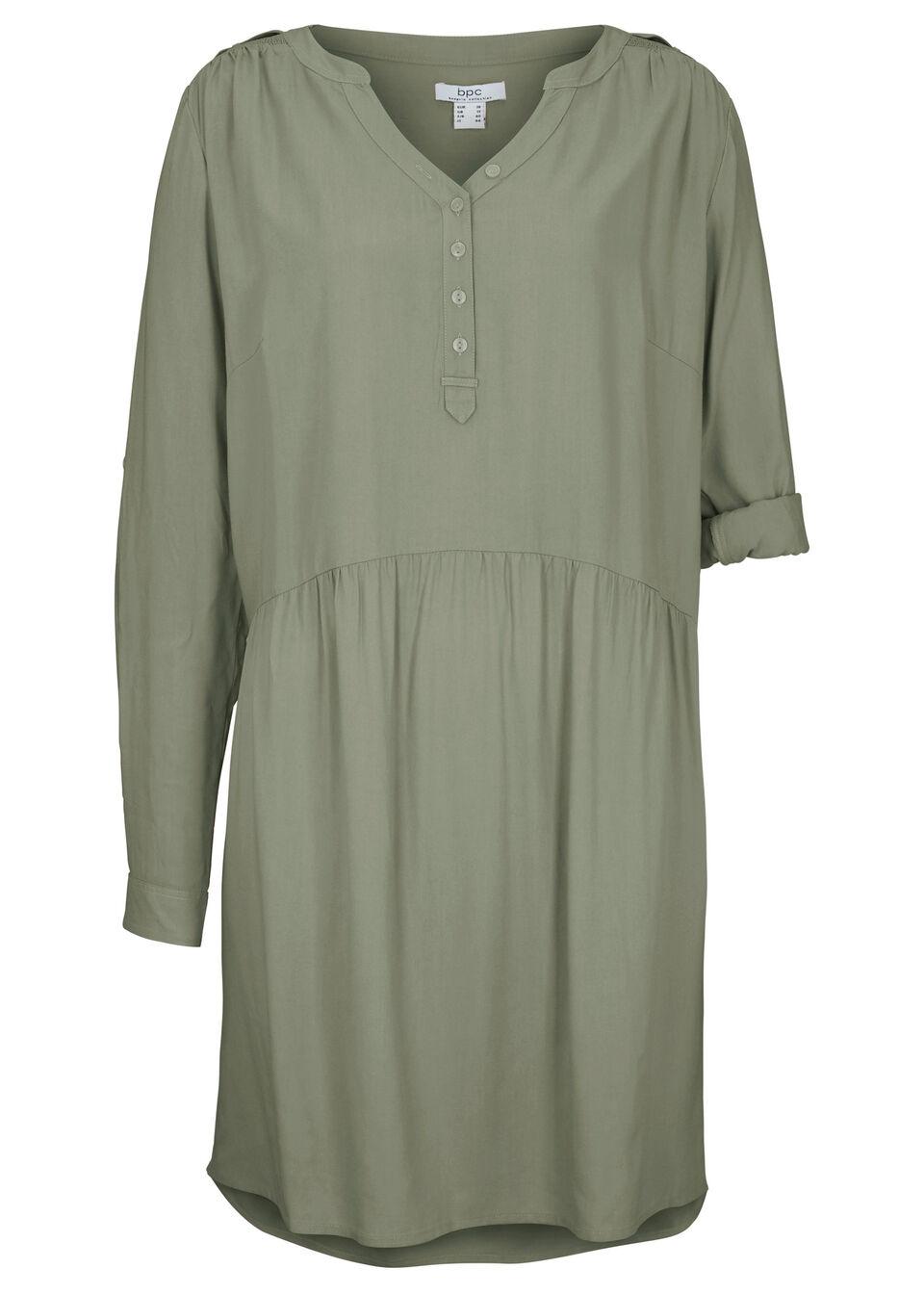 Sukienka koszulowa z wiskozy, długi rękaw bonprix oliwkowy