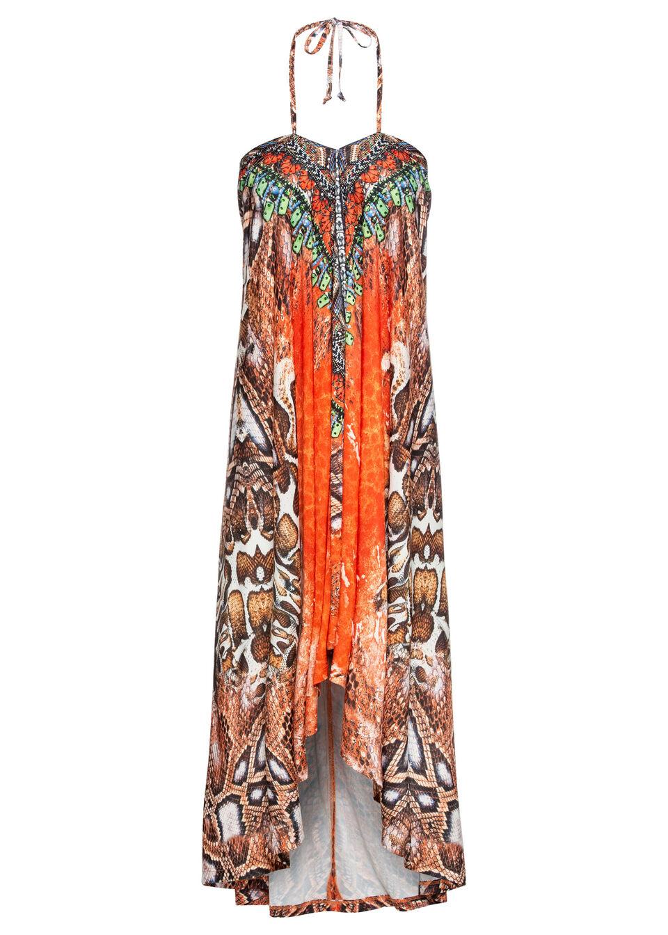 Sukienka wzorzysta z dekoltem halter bonprix pomarańczowo-brązowy