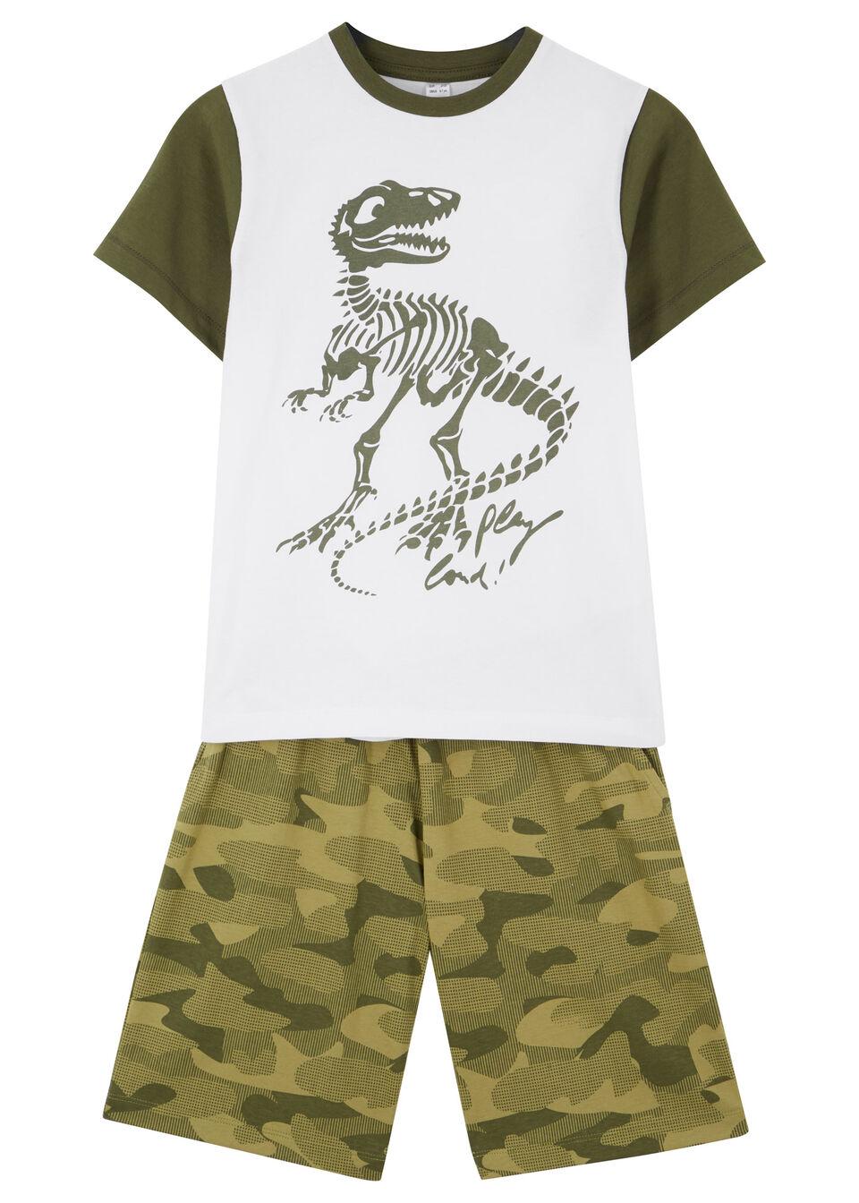 T-shirt + bermudy (2 części) bonprix biało-oliwkowy