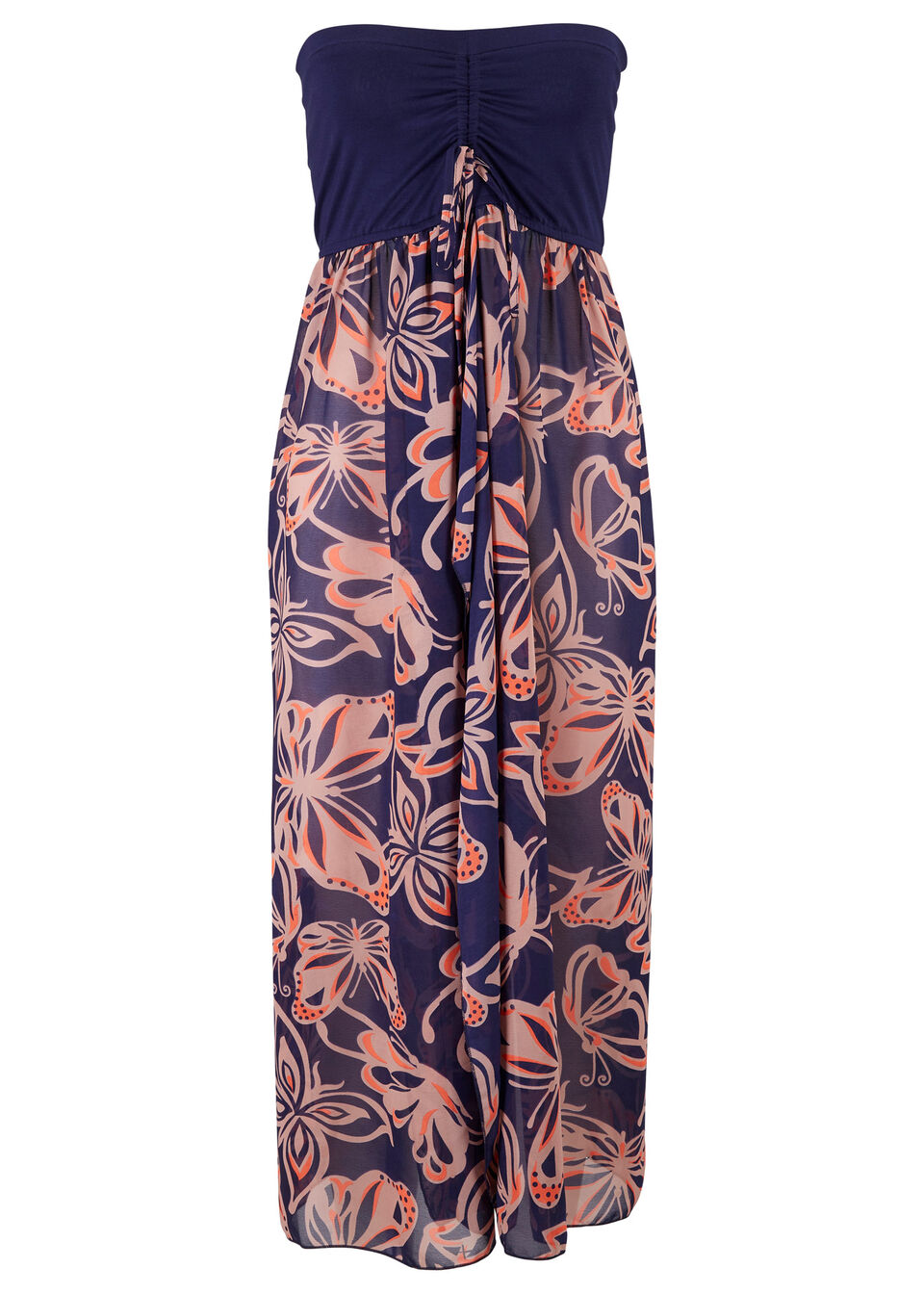 Sukienka plażowa z dekoltem bandeau bonprix niebiesko-jasnoróżowy