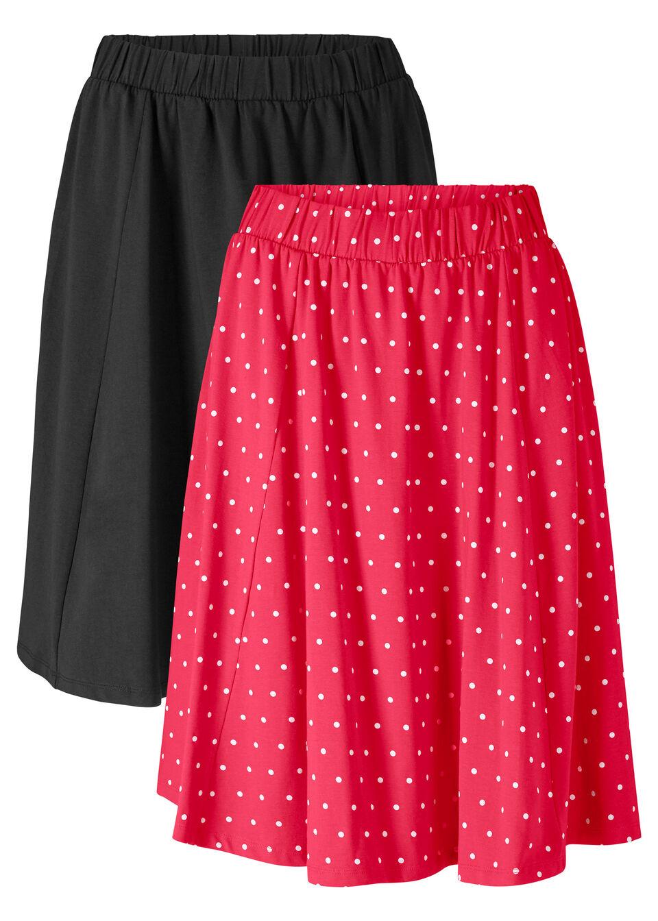 Spódnica shirtowa (2 szt.) bonprix czerwony w białe kropki + czarny