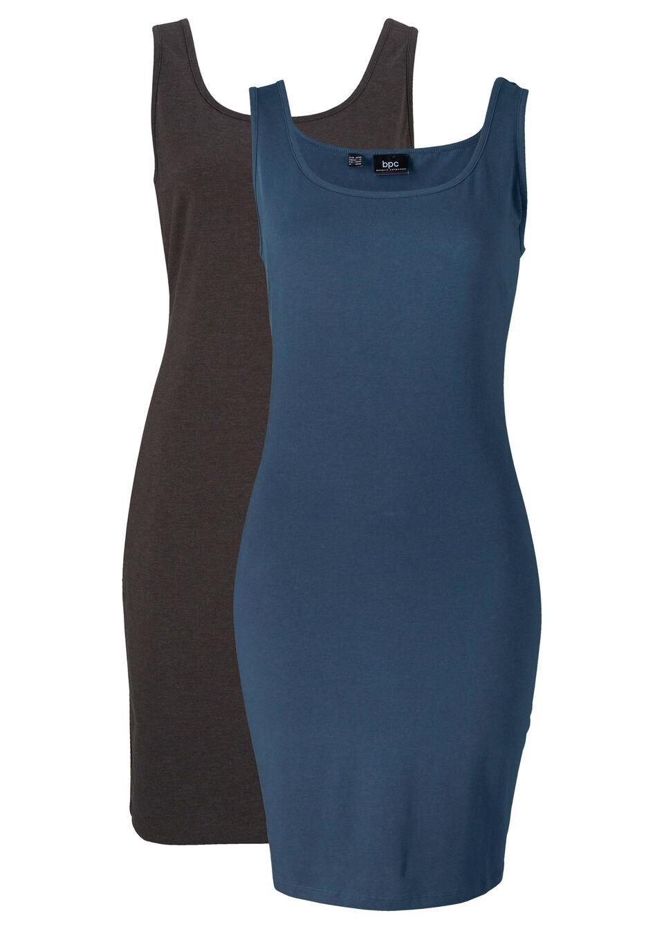 Sukienka shirtowa (2 szt.) bonprix ciemnoniebieski - antracytowy melanż