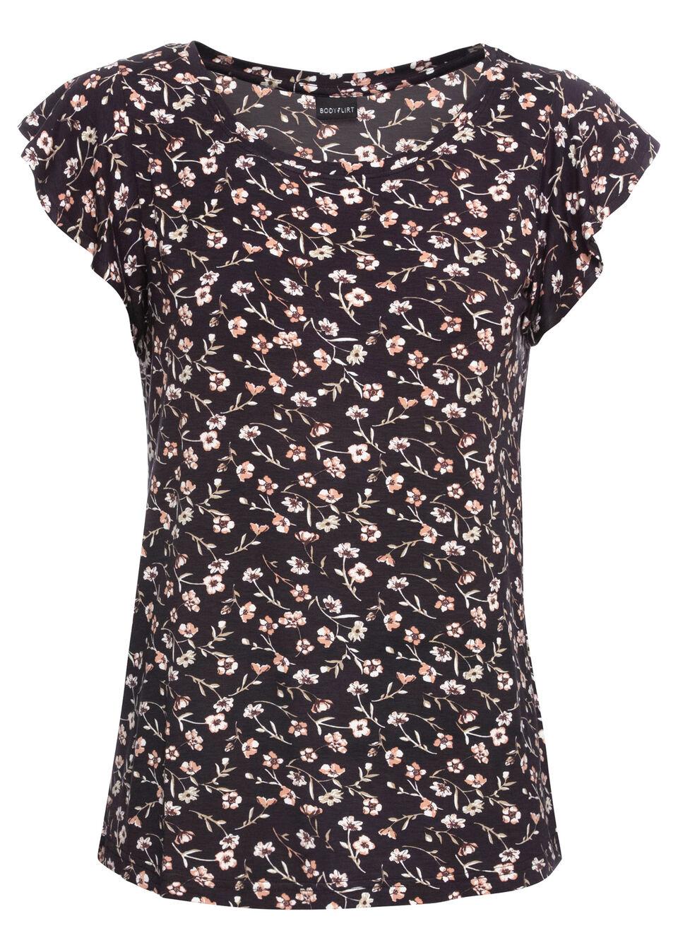 Фото - Пуловер с круглым вырезом горловины от bonprix цвет черный/серый меланж в полоску