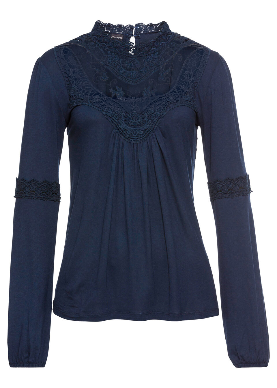 Shirt z koronką i długim rękawem bonprix ciemnoniebieski