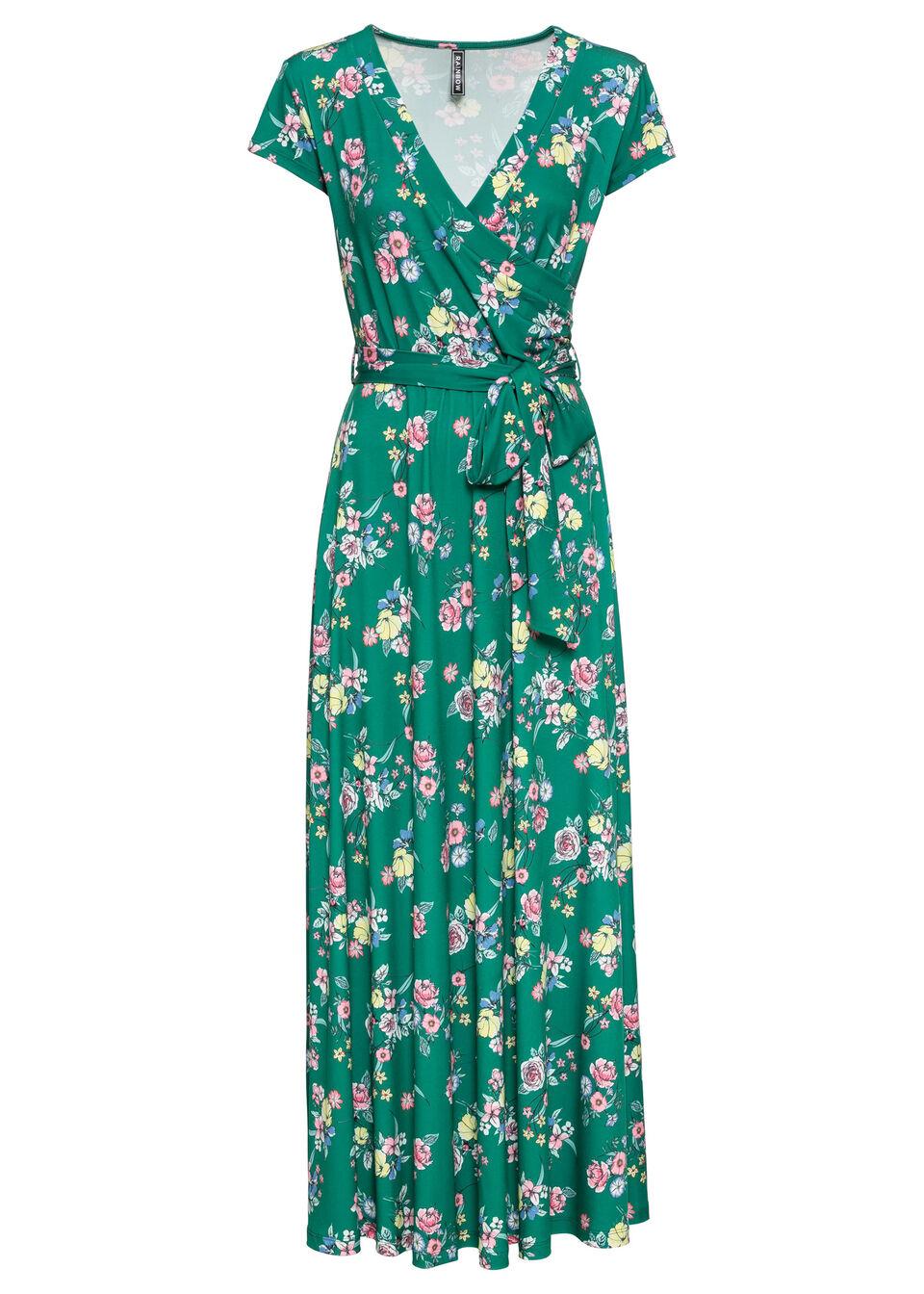 Długa sukienka z założeniem kopertowym bonprix zielony miętowy w kwiaty
