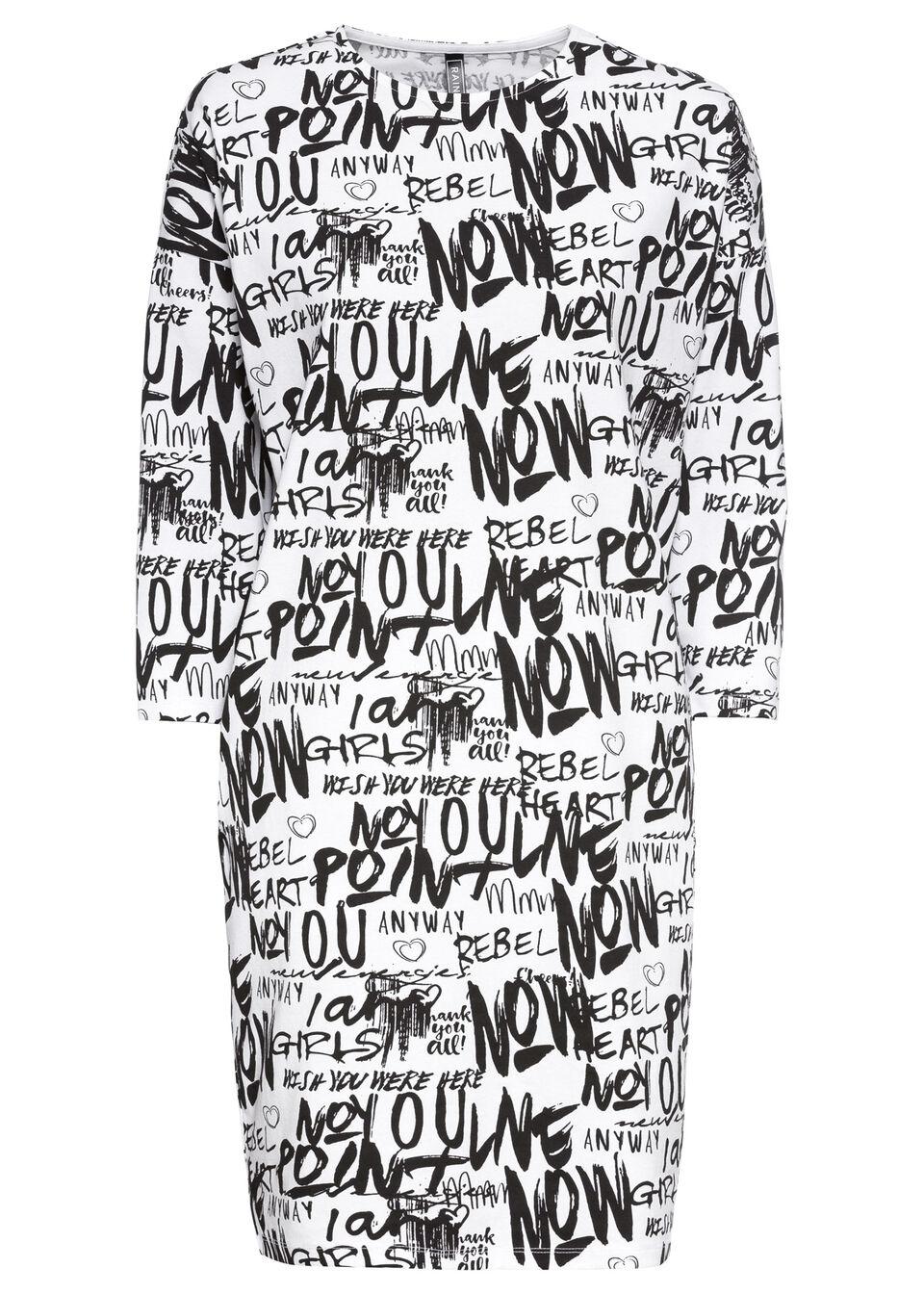 Sukienka dresowa z nadrukiem bonprix czarno-biały z nadrukiem