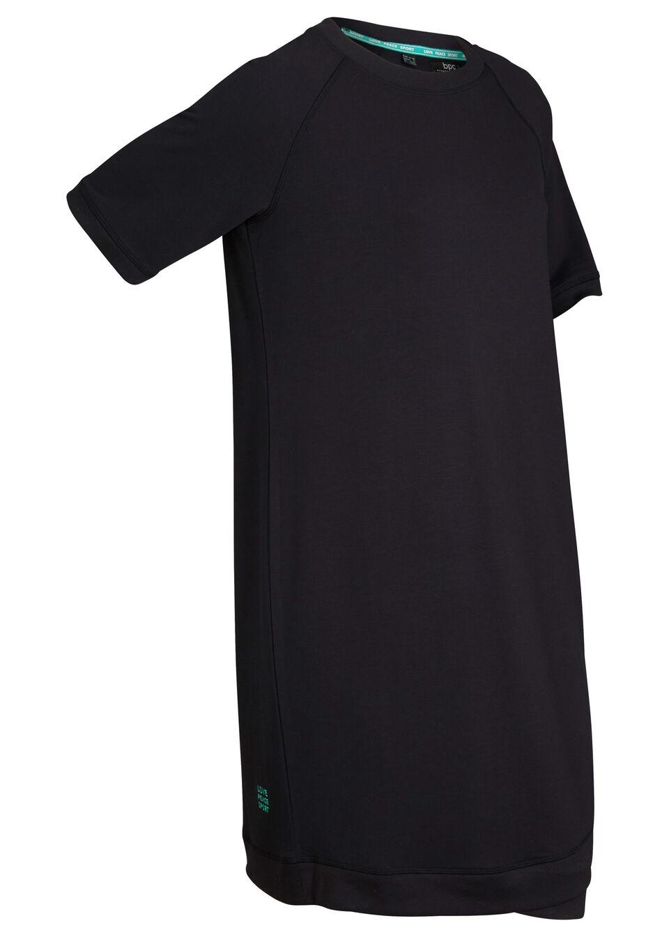 Sukienka dresowa, krótki rękaw bonprix czarny