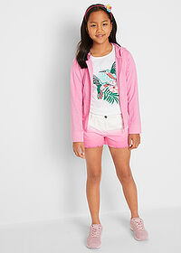 Short twill fete, cu degradeu alb-roz flamingo John Baner JEANSWEAR 3
