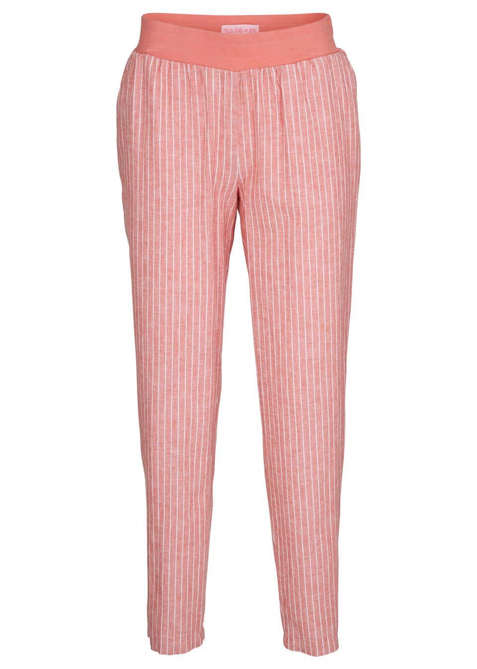 Spodnie lniane z kolekcji Maite Kelly bonprix rabarbarowo-biały w paski