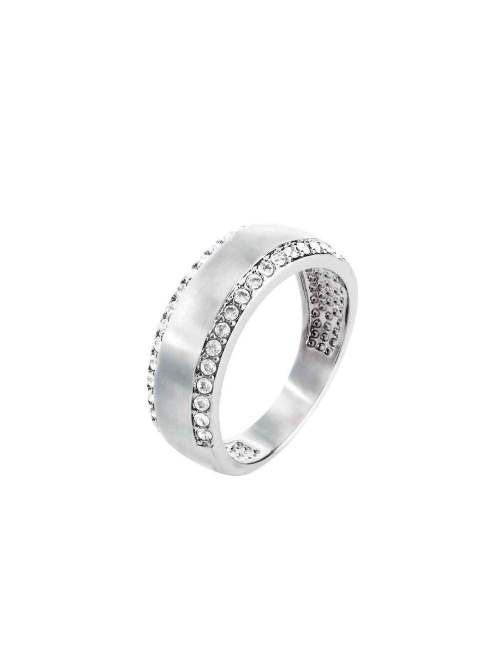 Pierścionek z kryształami Swarovskiego® bonprix srebrny kolor rodowany
