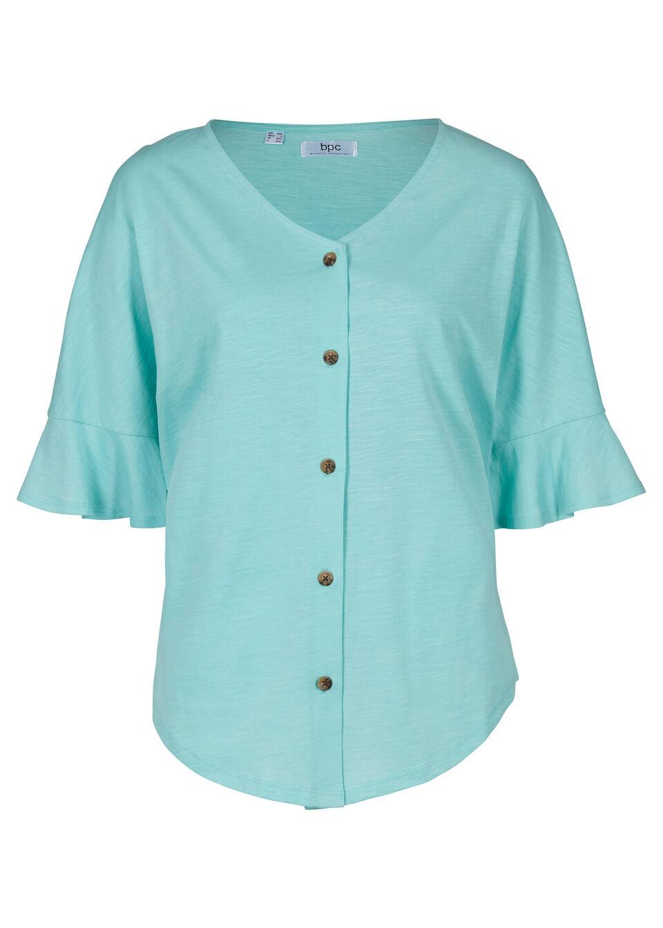 Bluzka shirtowa z plisą guzikową bonprix morski pastelowy