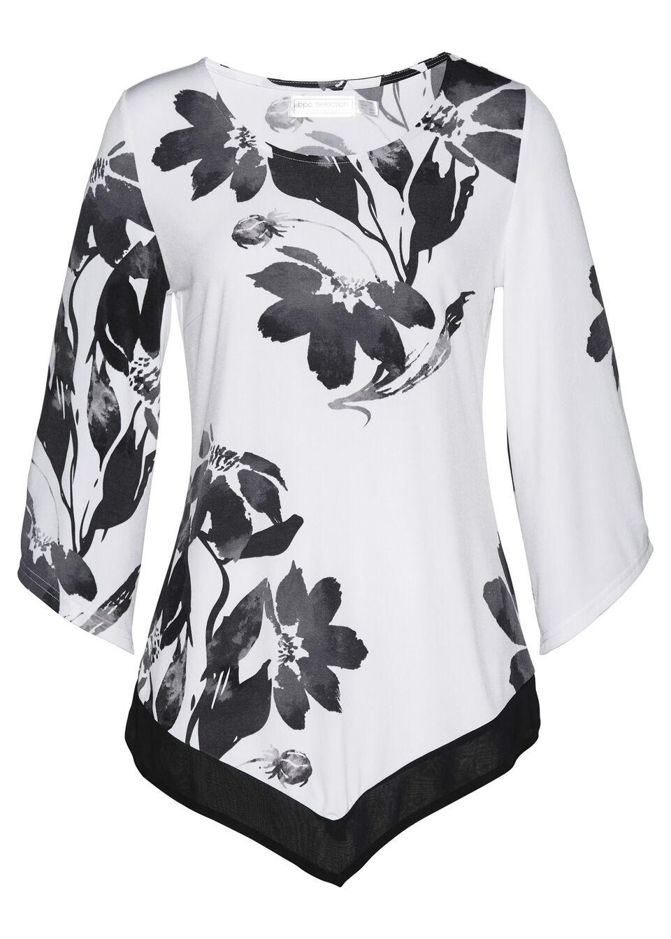 Tunika shirtowa bonprix biało-czarny