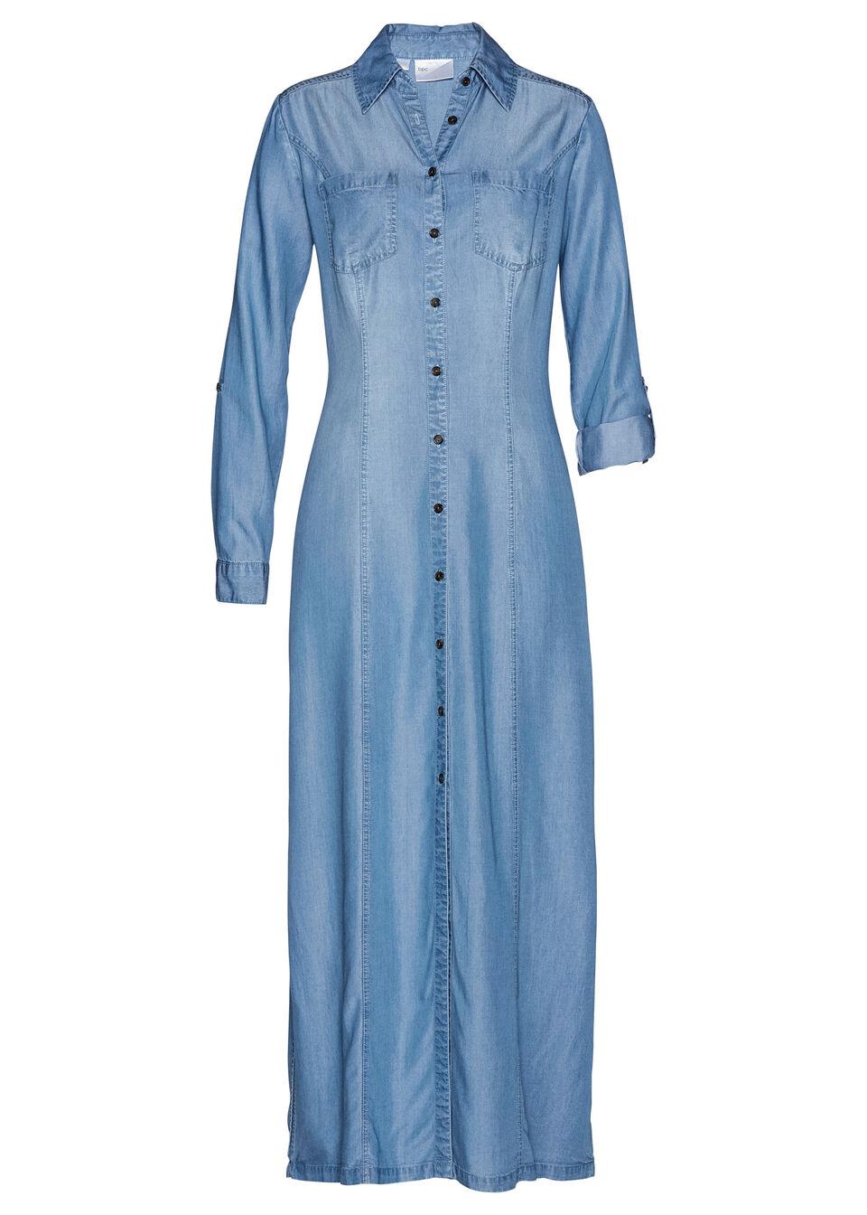 """Sukienka szmizjerka, TENCEL™ Lyocell bonprix niebieski """"bleached"""""""
