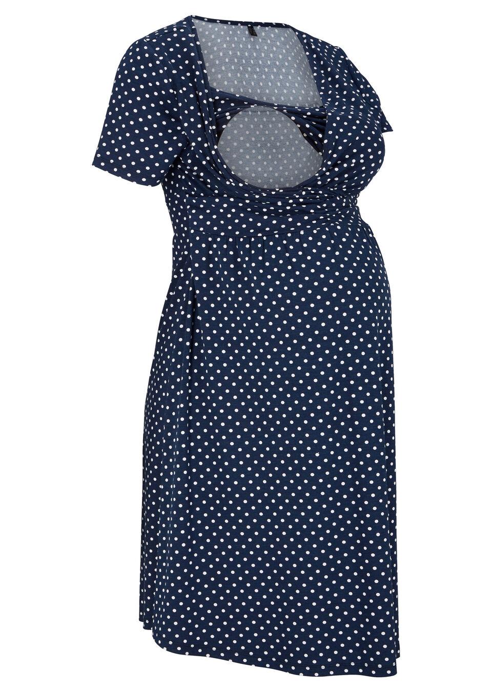 Sukienka ciążowa i do karmienia bonprix ciemnoniebiesko-biały w kropki