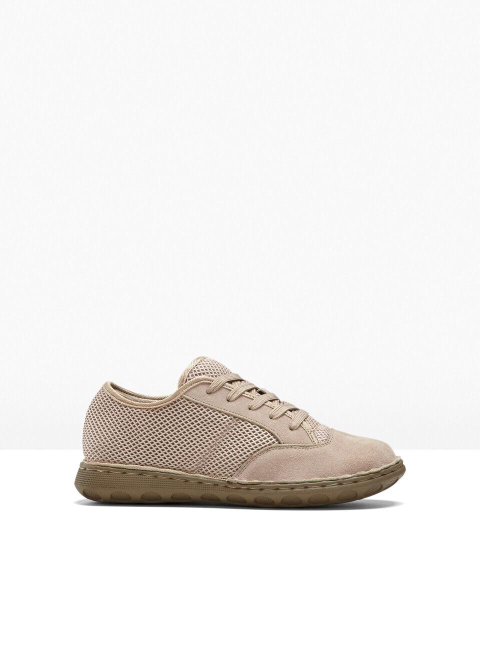 Wygodne sneakersy skórzane bonprix beżowy
