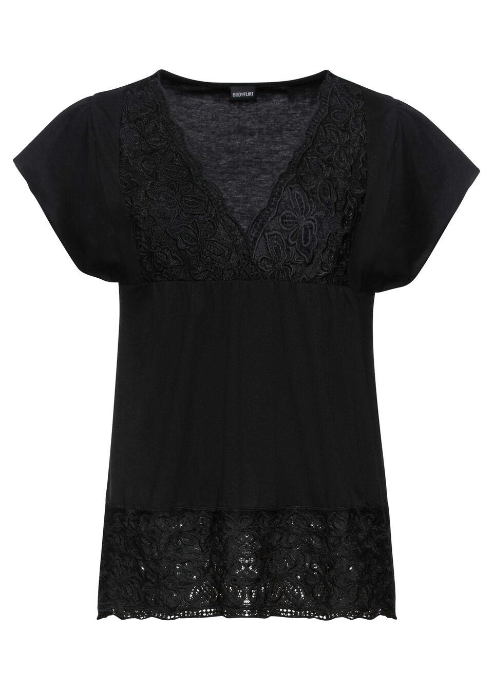 Shirt z koronką w dekolcie bonprix czarny