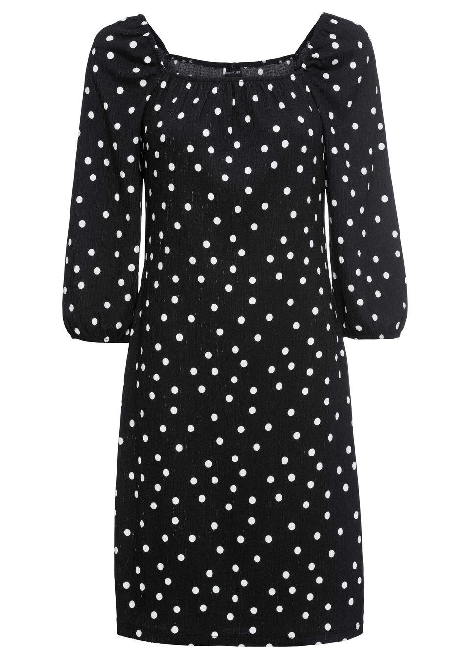 Sukienka z nadrukiem i dekoltem karo MUST HAVE bonprix czarny w białe kropki