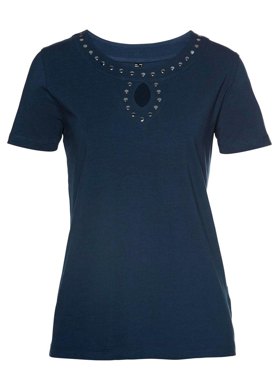 T-shirt bonprix ciemnoniebiesko-srebrny