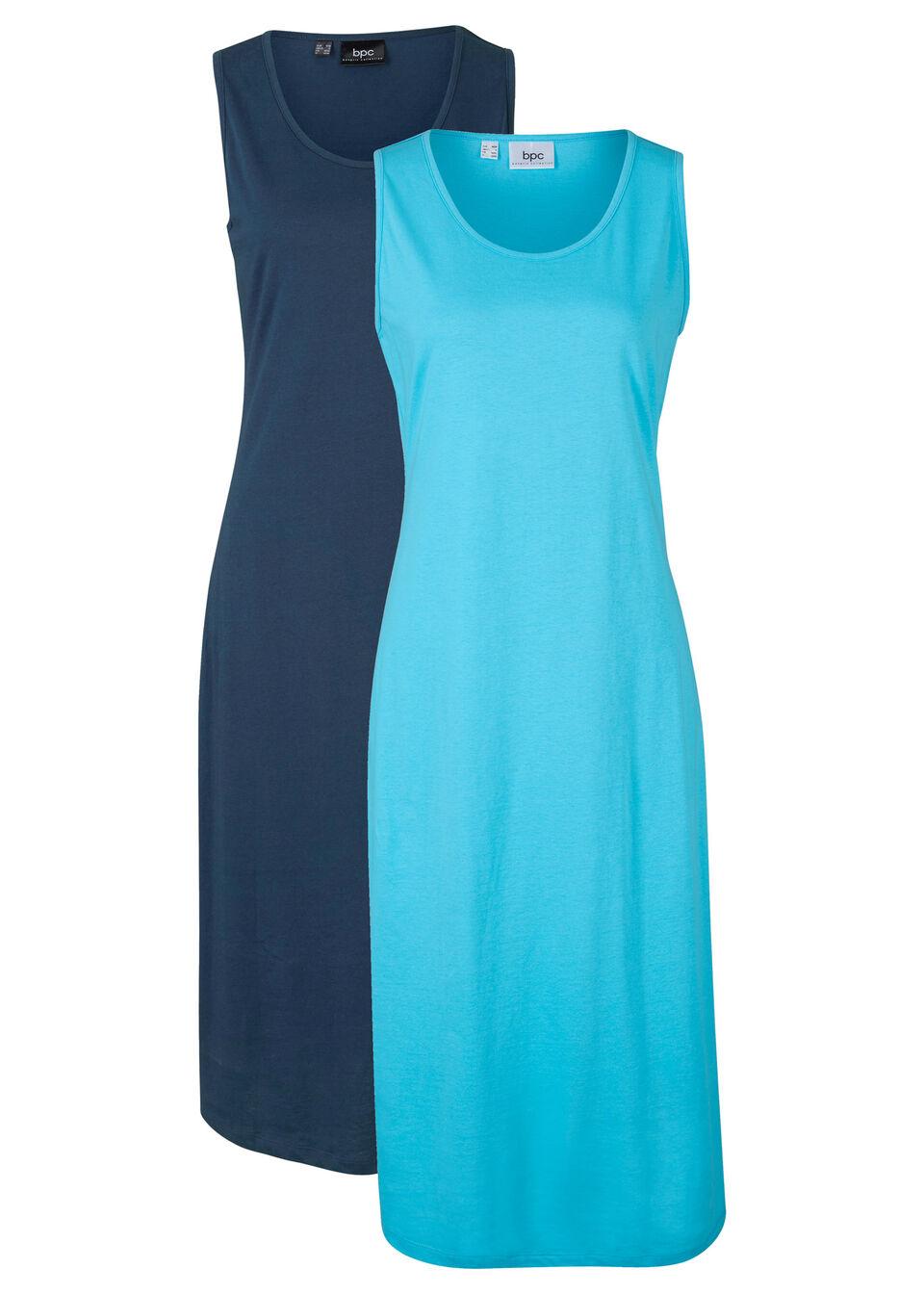 Sukienka midi z dżerseju (2 szt.) bonprix niebieski karaibski + ciemnoniebieski