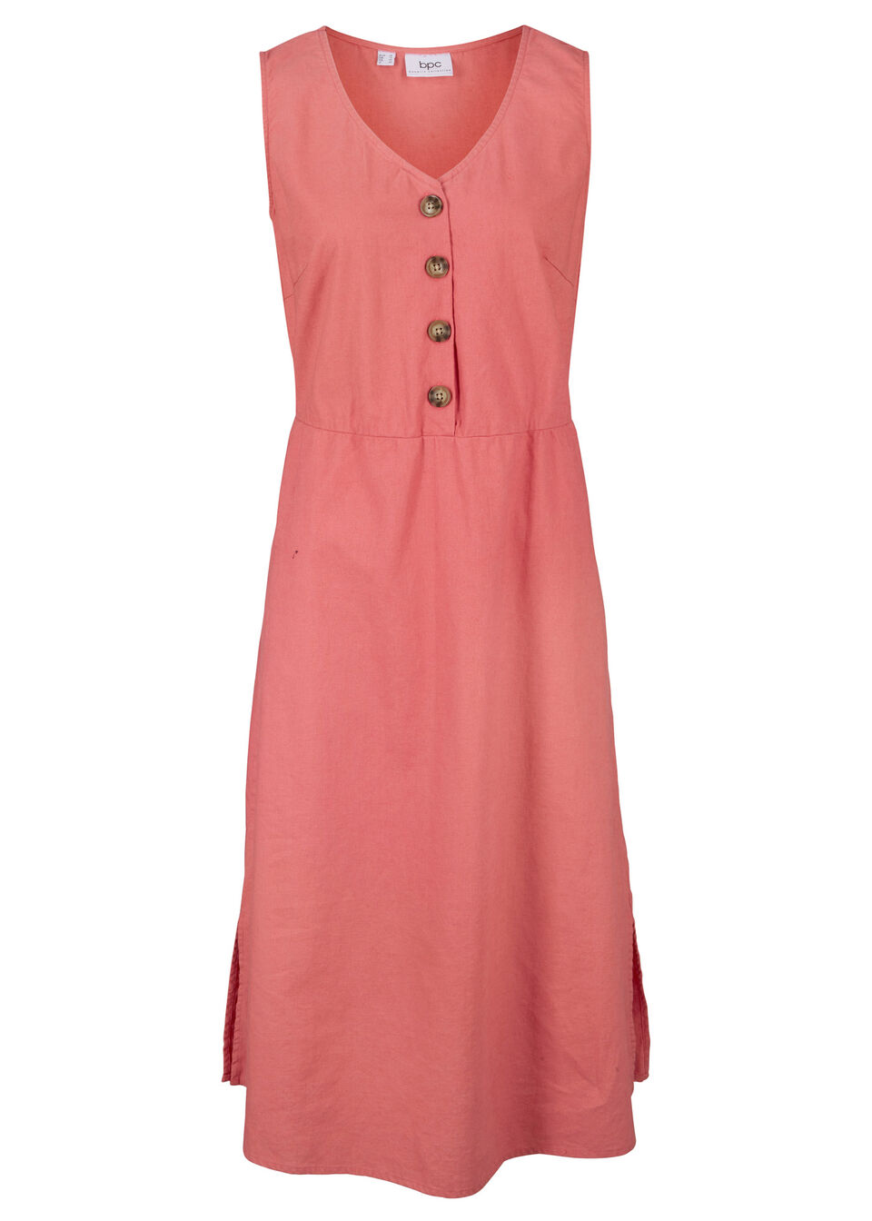 Sukienka lniana midi z plisą guzikową bonprix Sukienka lniana z pl.g rab